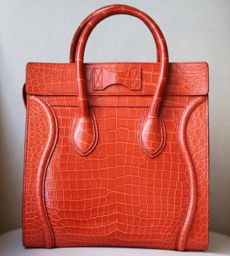 Red Céline Orange Crocodile Luggage Bag With Gold H/W For Sale