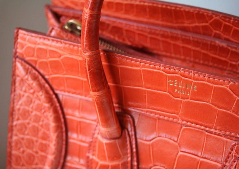 Céline Orange Crocodile Luggage Bag With Gold H/W In Excellent Condition For Sale In London, GB