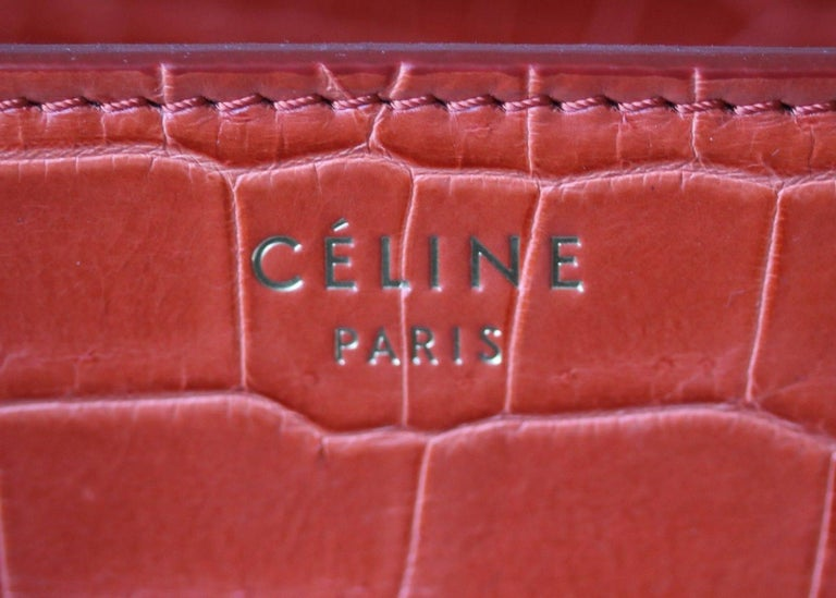 Women's or Men's Céline Orange Crocodile Luggage Bag With Gold H/W For Sale