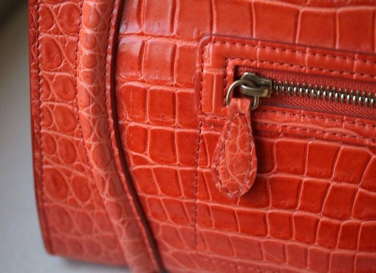 Céline Orange Crocodile Luggage Bag With Gold H/W For Sale 1