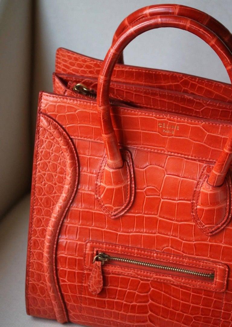 Céline Orange Crocodile Luggage Bag With Gold H/W For Sale 2