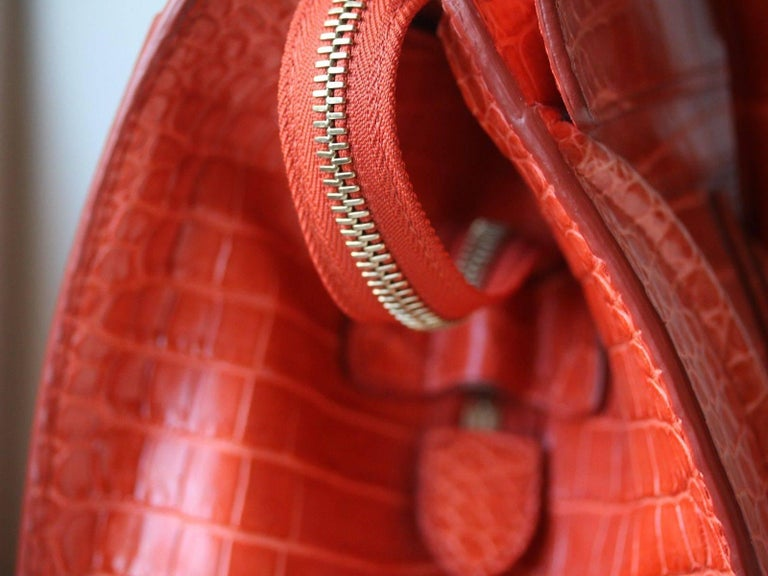 Céline Orange Crocodile Luggage Bag With Gold H/W For Sale 3