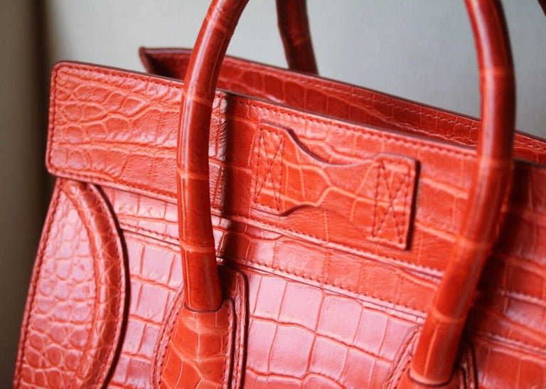 Céline Orange Crocodile Luggage Bag With Gold H/W For Sale 4
