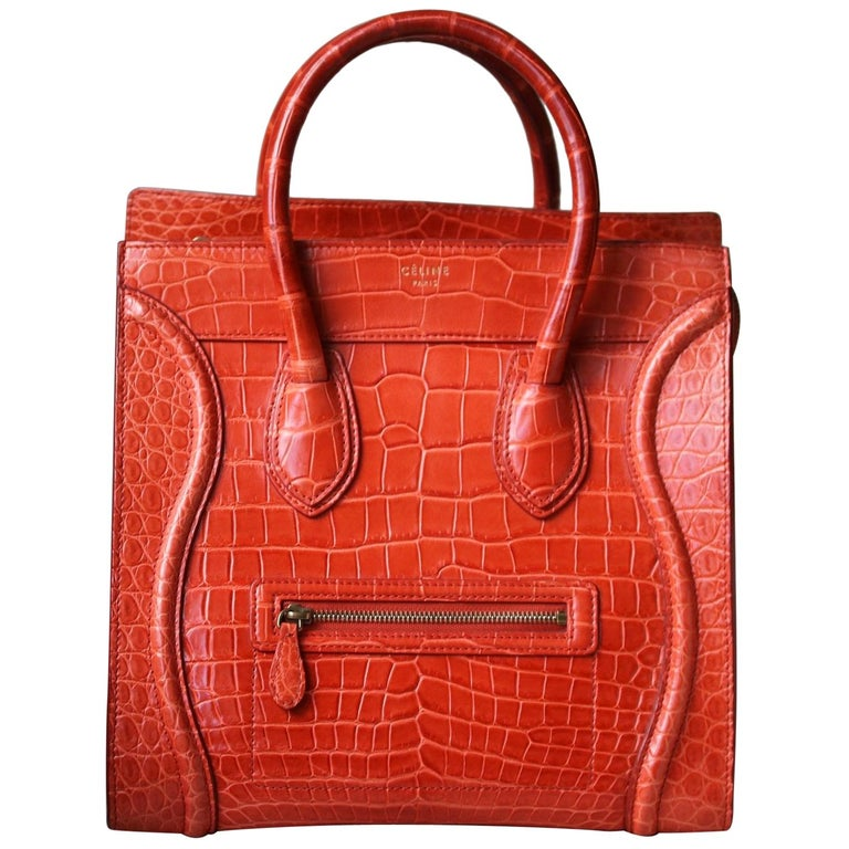 Céline Orange Crocodile Luggage Bag With Gold H/W For Sale