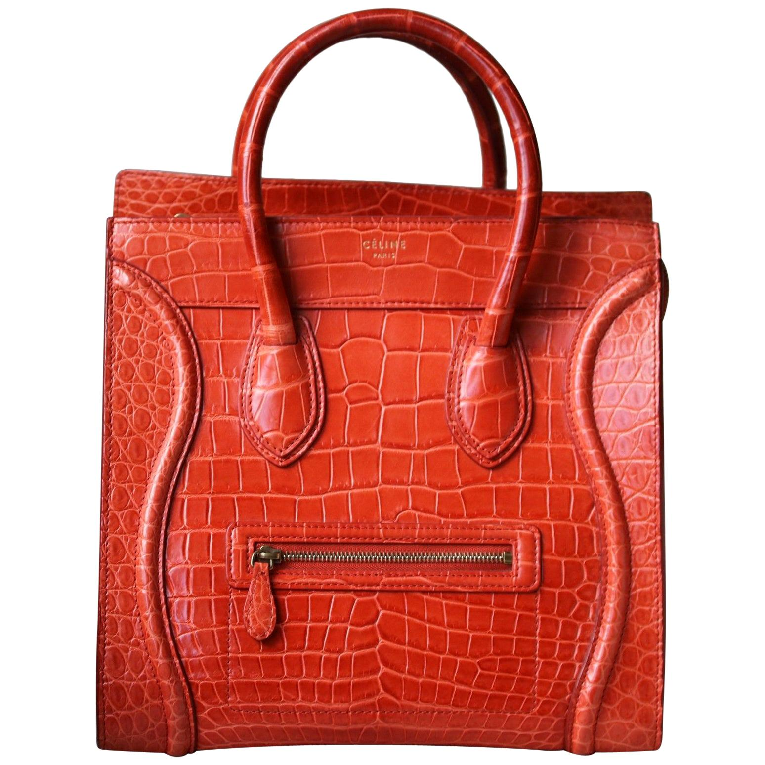 Céline Orange Crocodile Luggage Bag With Gold H/W