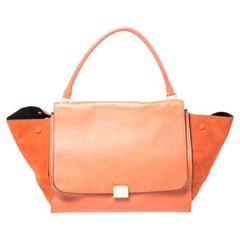 Celine Orange Leather and Suede Large Trapeze Bag
