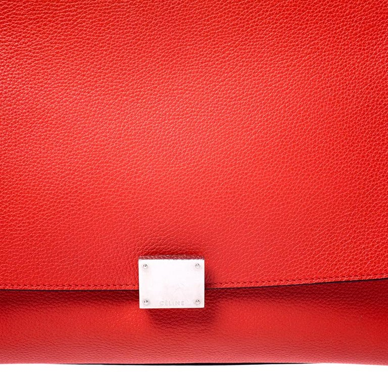 Celine Orange Leather and Suede Medium Trapeze Bag For Sale 6