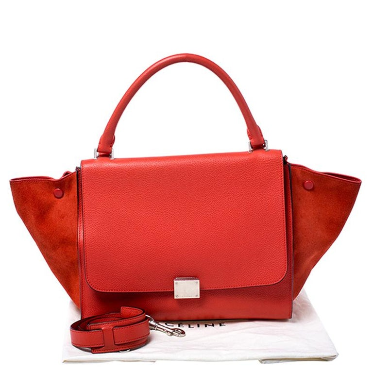 Celine Orange Leather and Suede Medium Trapeze Bag For Sale 7