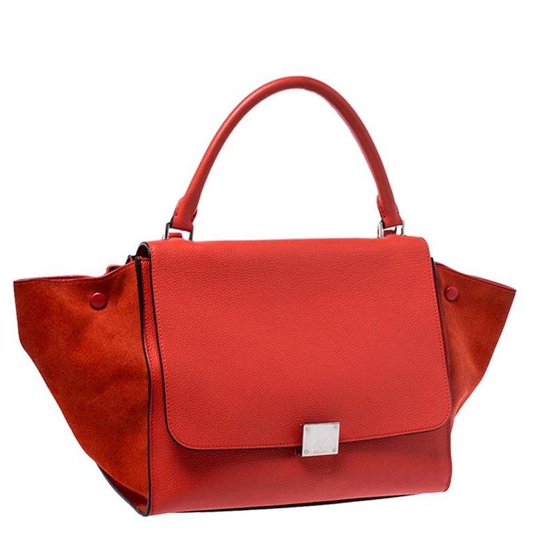 Women's Celine Orange Leather and Suede Medium Trapeze Bag For Sale