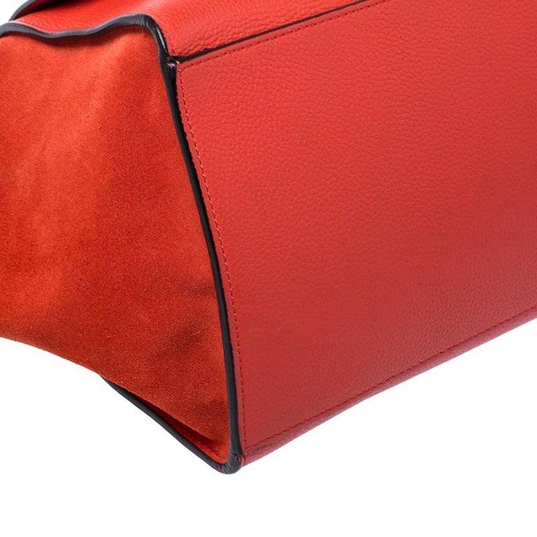 Celine Orange Leather and Suede Medium Trapeze Bag For Sale 1