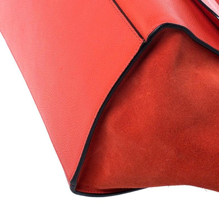 Celine Orange Leather and Suede Medium Trapeze Bag For Sale 2