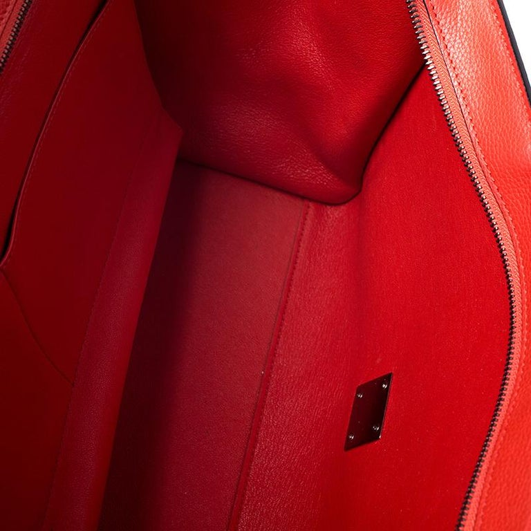 Celine Orange Leather and Suede Medium Trapeze Bag For Sale 3