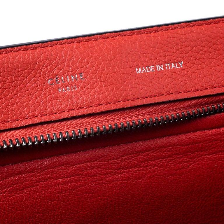 Celine Orange Leather and Suede Medium Trapeze Bag For Sale 4