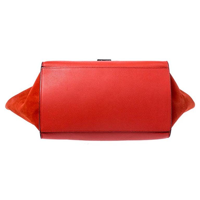 Celine Orange Leather and Suede Medium Trapeze Bag For Sale 5
