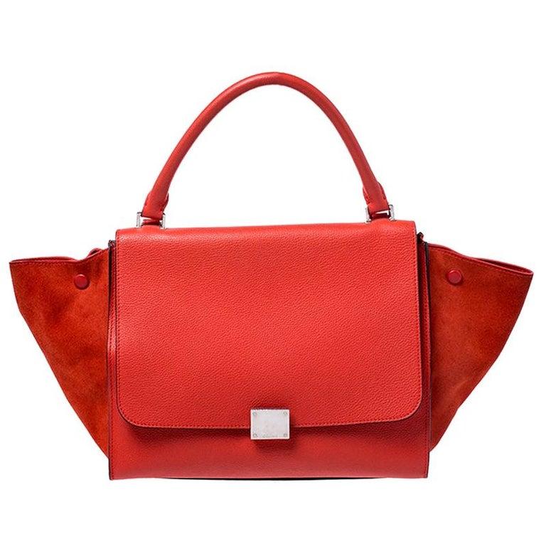 Celine Orange Leather and Suede Medium Trapeze Bag For Sale
