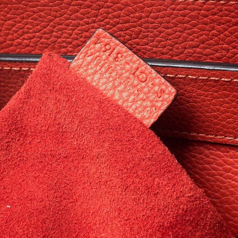 Celine Orange Leather Mini Luggage Tote For Sale 5