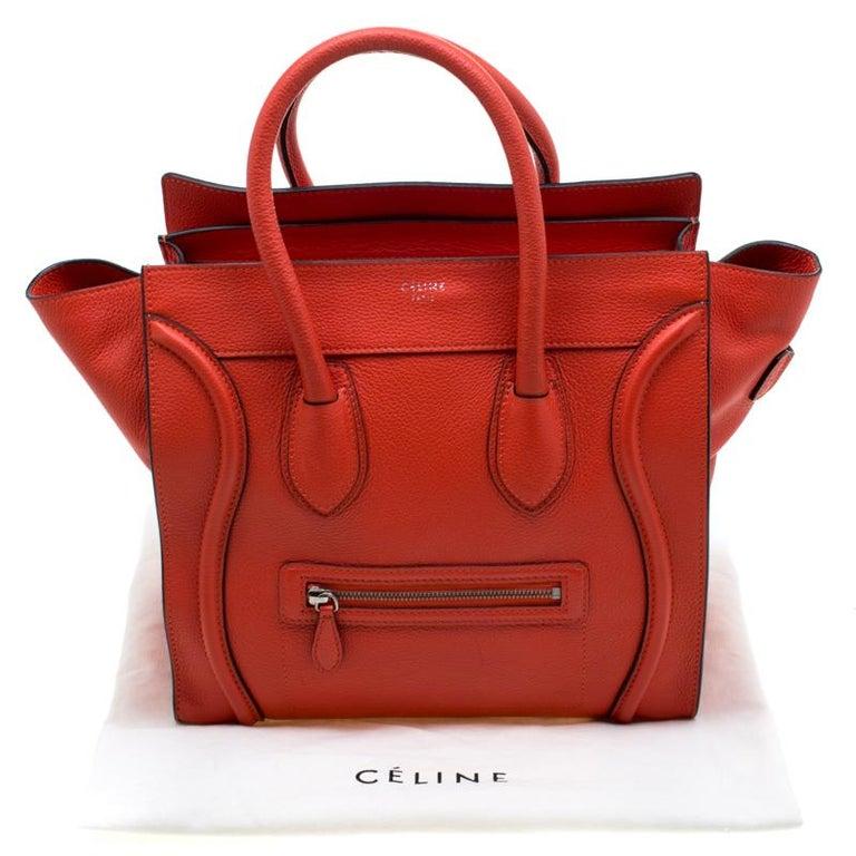 Celine Orange Leather Mini Luggage Tote For Sale 6