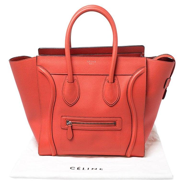 Celine Orange Leather Mini Luggage Tote For Sale 7