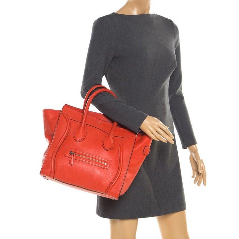 Red Celine Orange Leather Mini Luggage Tote For Sale