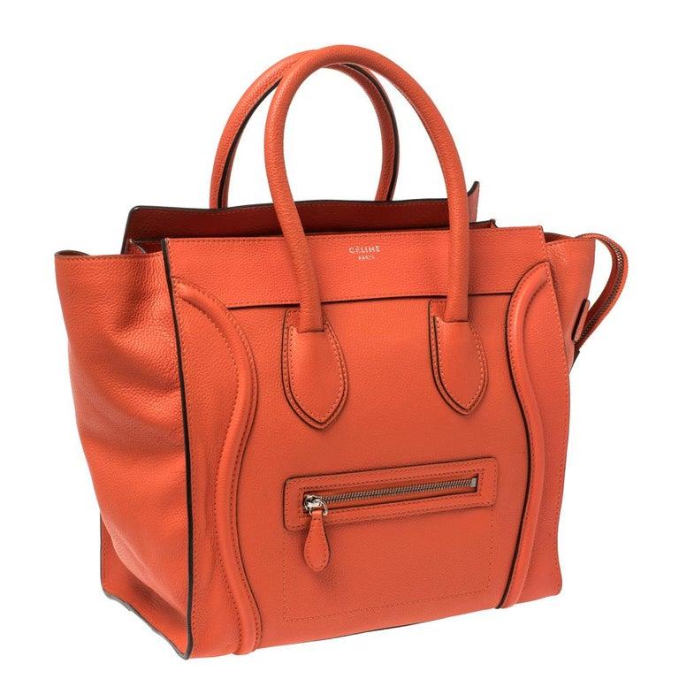 Celine Orange Leather Mini Luggage Tote In Good Condition For Sale In Dubai, Al Qouz 2
