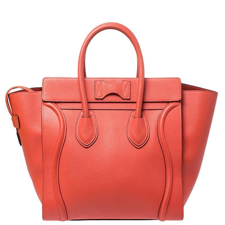 Women's Celine Orange Leather Mini Luggage Tote For Sale