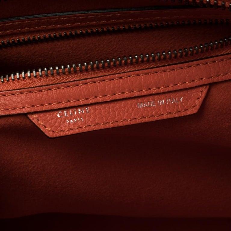Celine Orange Leather Mini Luggage Tote For Sale 1