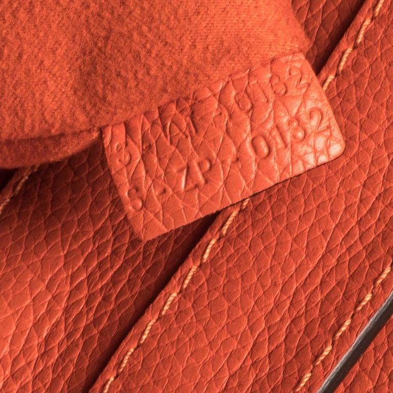 Celine Orange Leather Mini Luggage Tote For Sale 2