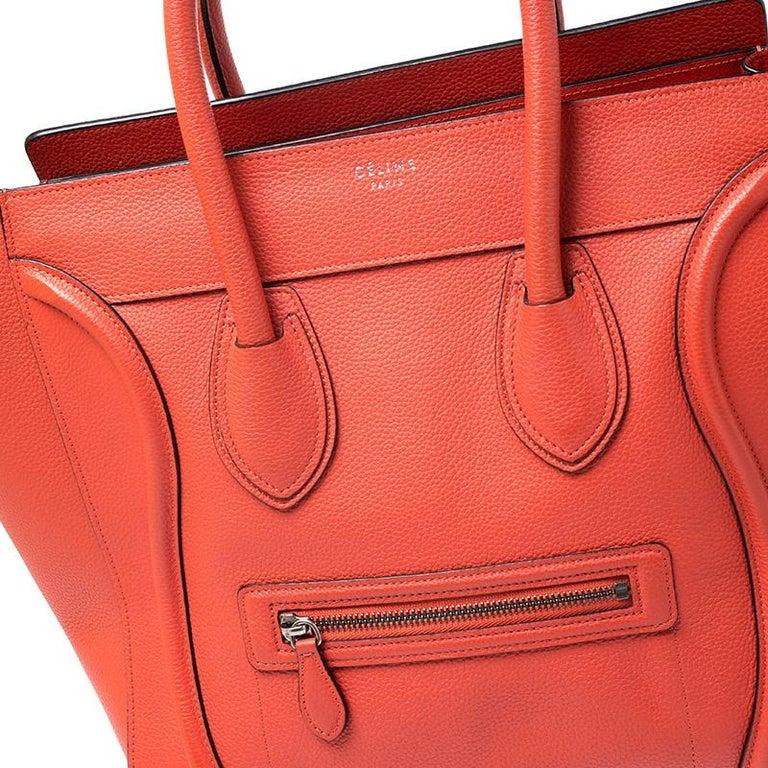 Celine Orange Leather Mini Luggage Tote For Sale 3