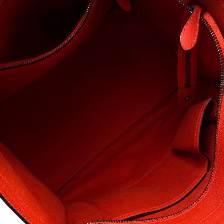 Celine Orange Leather Mini Luggage Tote For Sale 4