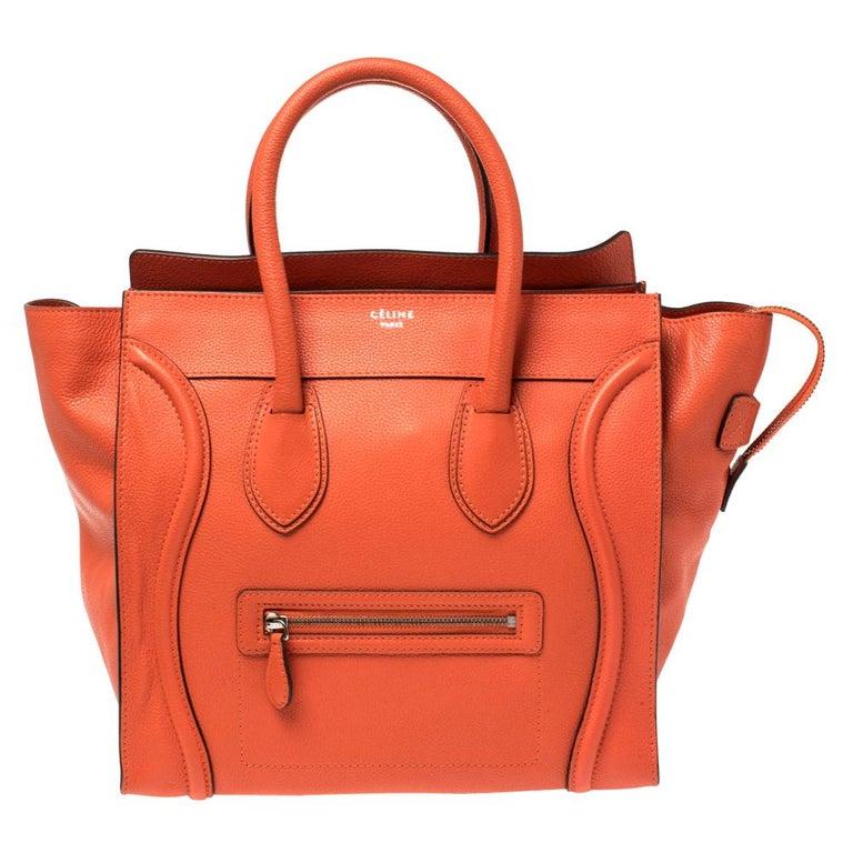 Celine Orange Leather Mini Luggage Tote For Sale