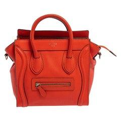 Celine Orange Leather Nano Luggage Tote