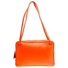Celine Orange Leather Side Lock Dragonne Shoulder Bag