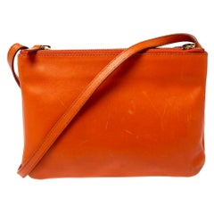 Celine Orange Leather Trio Shoulder Bag