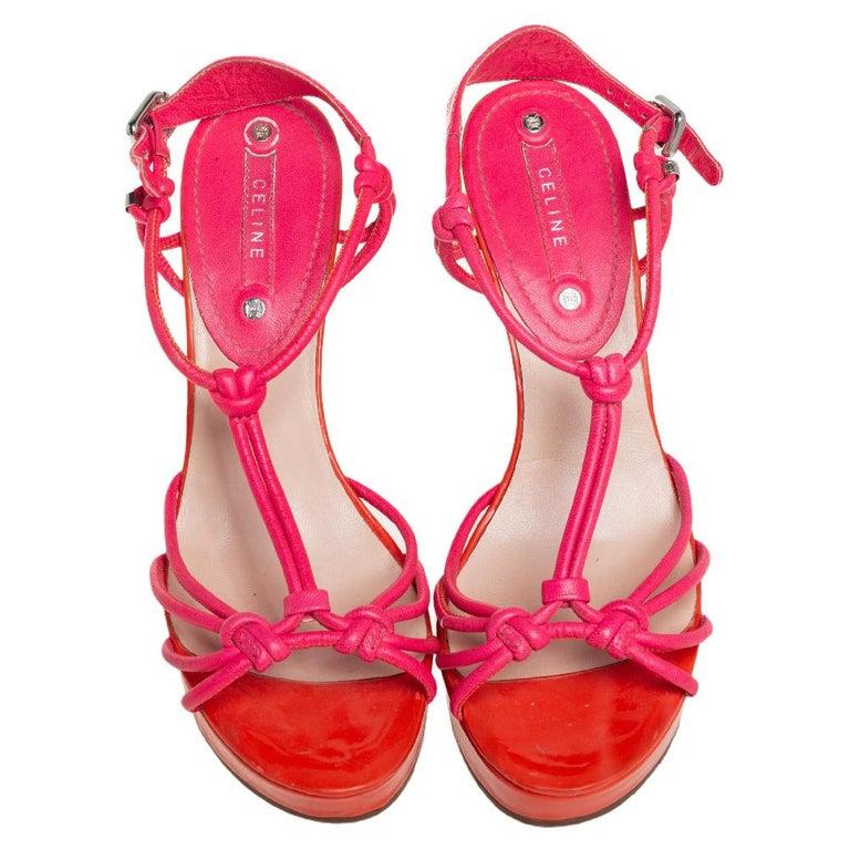 Women's Celine Orange/Pink Leather Wedge Sandals Size 39 For Sale