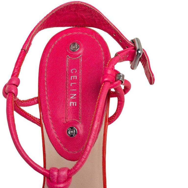 Celine Orange/Pink Leather Wedge Sandals Size 39 For Sale 2