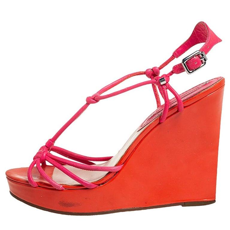 Celine Orange/Pink Leather Wedge Sandals Size 39 For Sale