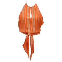 Celine Orange Silk Crepe & Gold Lamé Wrap Top