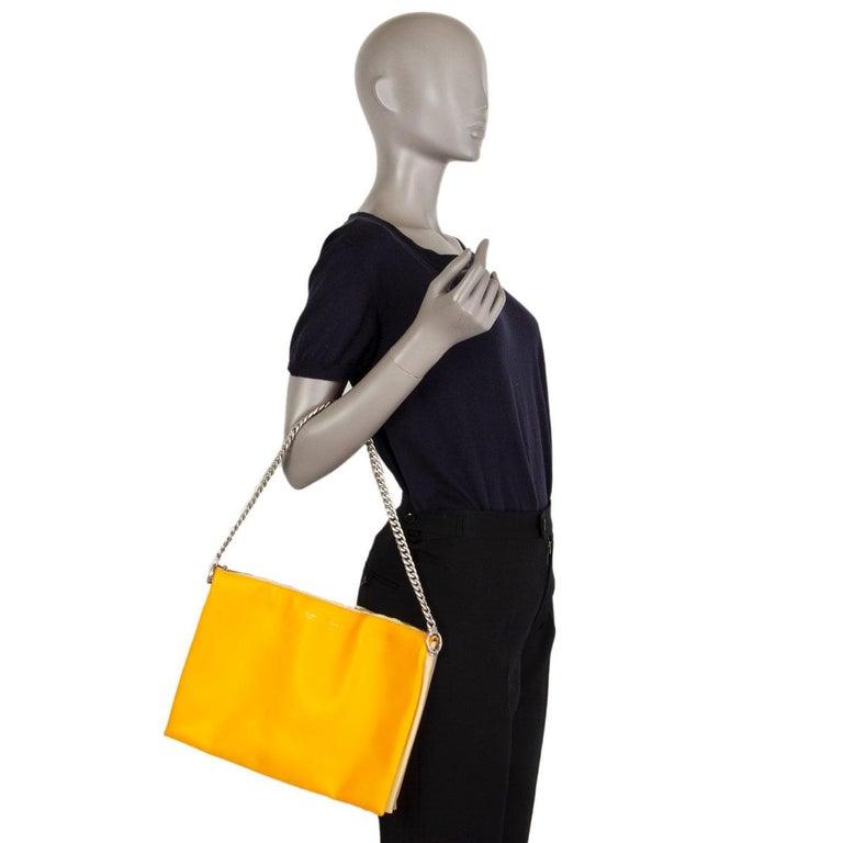 CELINE orange yellow leather TRICOLOR TRIO CHAIN Clutch Shoulder Bag For Sale 3