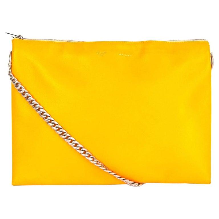 CELINE orange yellow leather TRICOLOR TRIO CHAIN Clutch Shoulder Bag For Sale