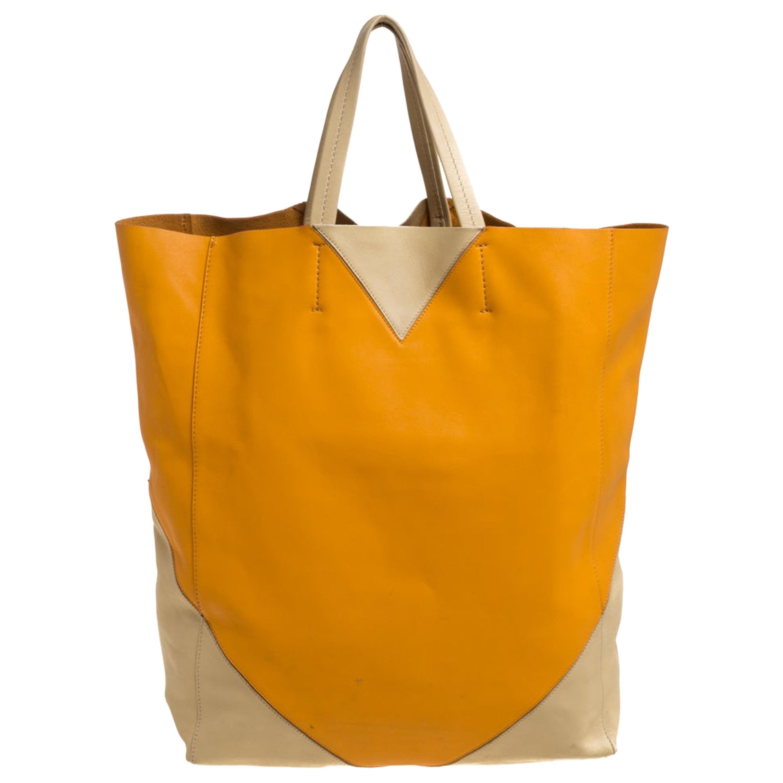 Celine Orange/Yellow Leather Vertical Cabas Tote