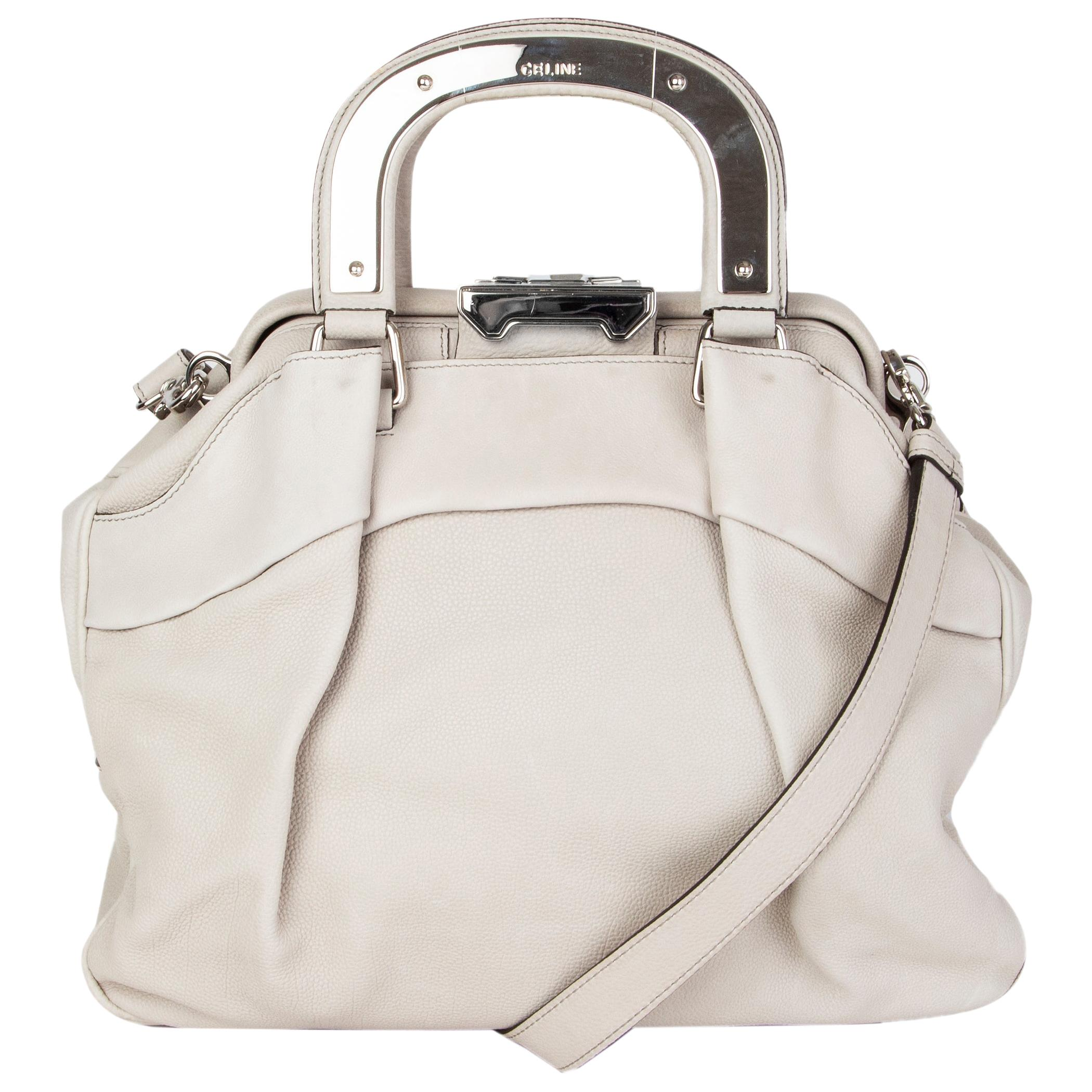 CELINE pale grey grained leather SOFT FRAME DOCTOR Bag