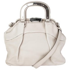 CELINE pale grey grained leather SOFT FRAME DOCTOR Bag