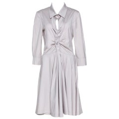 Celine Pale Grey Stretch Cotton Braided Front Detail Midi Dress L