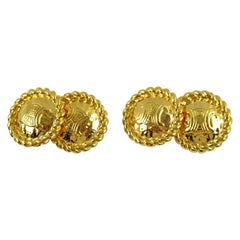 Celine Paris Cufflinks Braided Gilt Metal Brand Logo