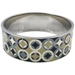 Celine Paris Enamel and Silvered Metal Bangle Bracelet