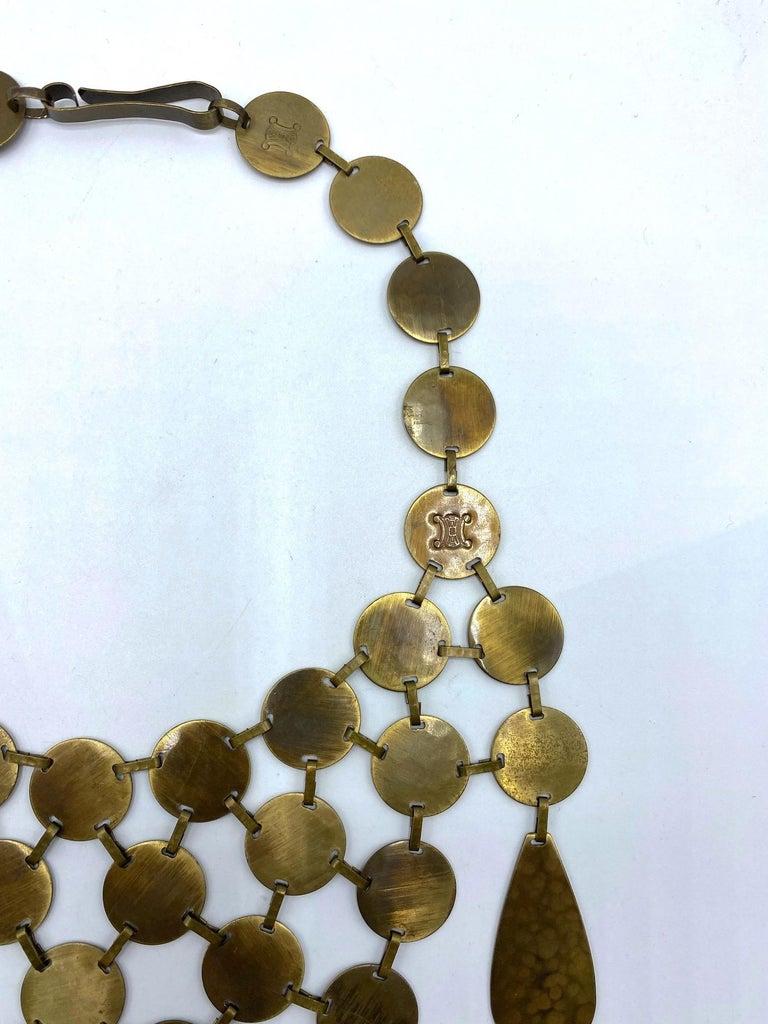 Celine, Paris Patinated Bronze Disk Bib Necklace For Sale 6