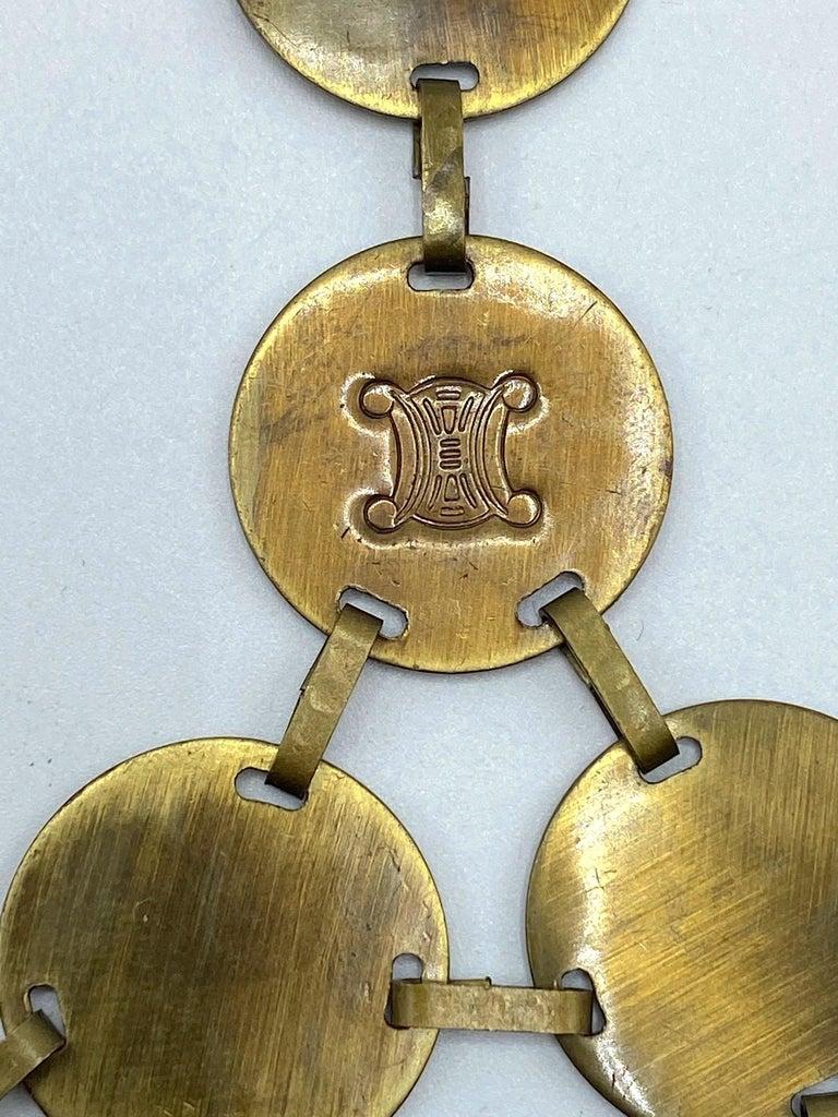 Celine, Paris Patinated Bronze Disk Bib Necklace For Sale 7
