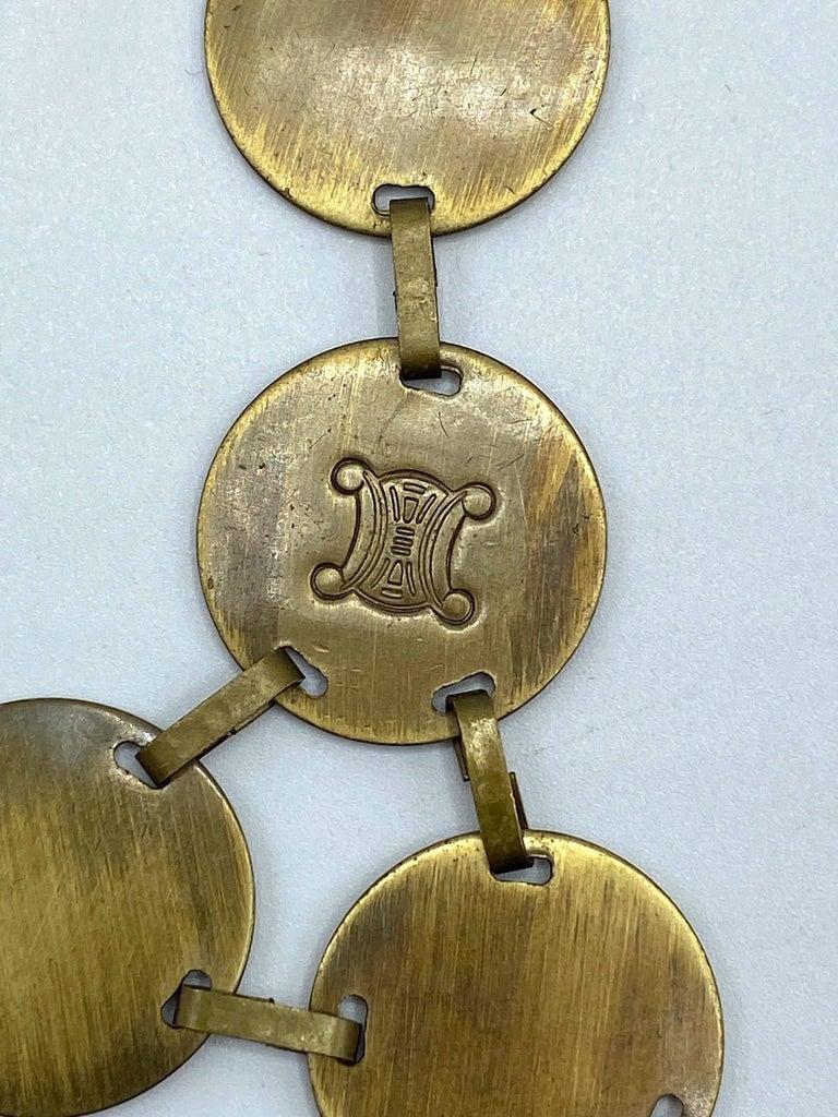 Celine, Paris Patinated Bronze Disk Bib Necklace For Sale 8