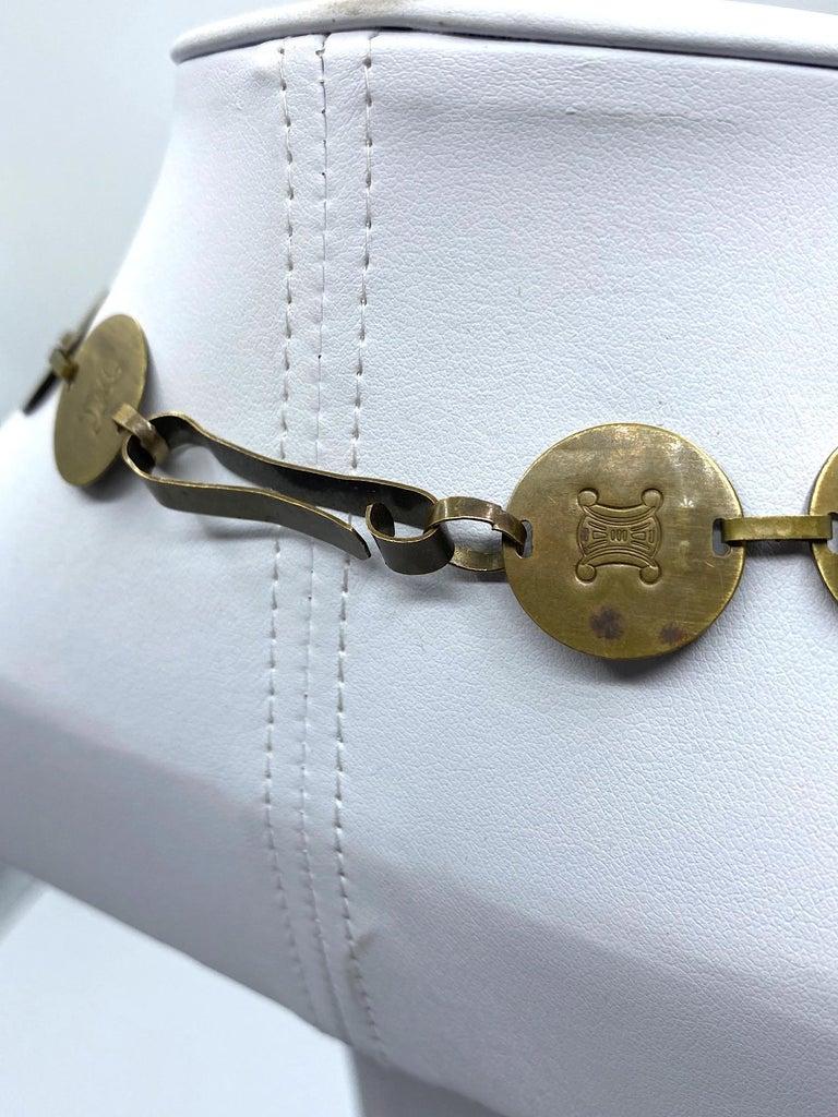 Celine, Paris Patinated Bronze Disk Bib Necklace For Sale 9