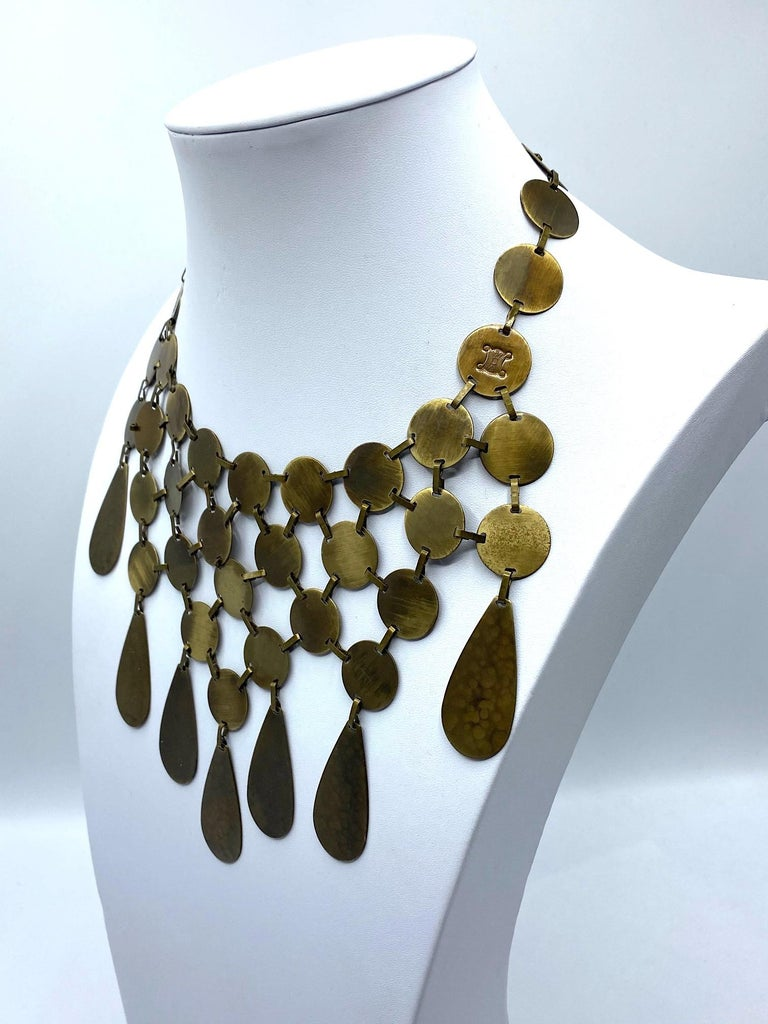Celine, Paris Patinated Bronze Disk Bib Necklace In Good Condition For Sale In New York, NY